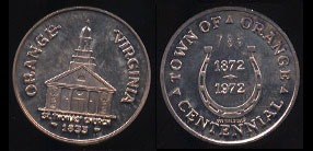 1972 Orange, Virginia Centennial Commemorative St. Thomas' Church 1833 Silver Round