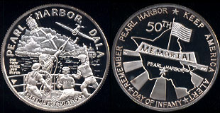 Pearl harbor 50th Memorial 1941-1991 1 troy Ounce of .999 Fine Silver Silver Round