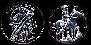 Rosebud Sioux Maza - Ska Sovereign Nation of the Sioux  1971 Silver Round
