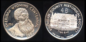 1982 Sheridan, Wyoming Centennial Commemorative Sheridan County Historical Society Silver Round