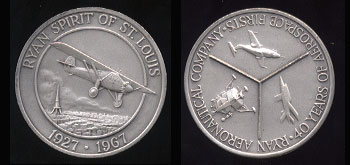 Ryan Spirit of St. Louis 1927 - 1967 Ryan Aeronautical Company 40 Years of Aerospace Firsts Silver Round