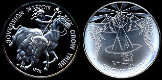Sovereign Nation of the Crow Tribe 1972 Crow Tribe Silver Round