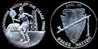 Sovereign Nation of the Osage Tribe 1872 - 1972 Seal of Osage Nation Silver Round