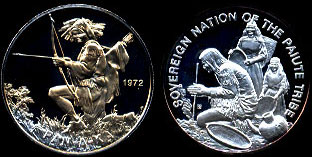 Sovereign Nation of the Paiute Tribe Pan-A-Ka 1972 Silver Round