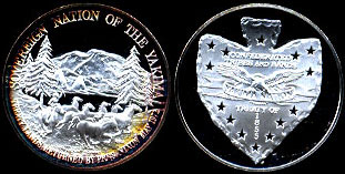 Sovereign Nation of the Yakima Treaty Lands Returned by President Nixon May 1972 Confederated Tribes and Bands Treaty of 1855 Silver Round