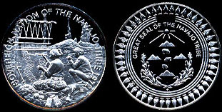 Sovereign Nation of the Navajo Tribe  1972 Great Seal of the Navajo Tribe Silver Round