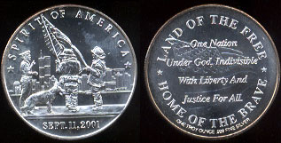 Spirit of America -- Sept. 11, 2001 Land of the Free -- Home of the Brave Silver Round