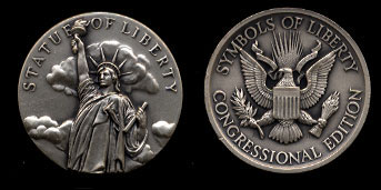 Statue of Liberty Symbols of Liberty Congressional Edtion Silver Art Round