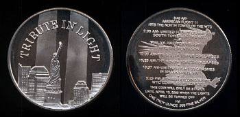 "Twin Towers ""Tribute In Light"" Silver Round"
