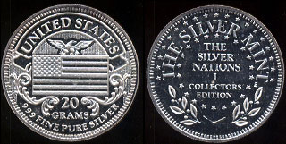 United States  The Silver Mint Collectors Edition 20 Grams of .999 Fine Pure Silver , Silver Round