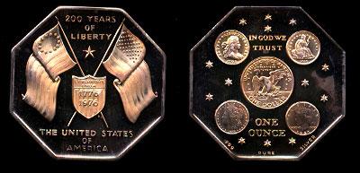 US Flag Bicentennial Octagonal Art Medal