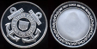 United States Coast Guard 1790 One Troy Ounce of .999 Fine Silver Round