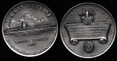 Commemorating the Launching of the U.S.S. Enterprise Silver Art Round