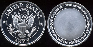 United States Army One Troy Ounce .999 Fine Silver Round