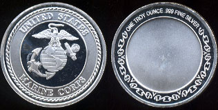 United States Marine Corps One Troy Ounce Silver Round