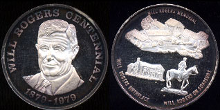 Will Rogers Centennial 1879-1979 Memorial Birthplace Rogers on Soapsuds Silver Round