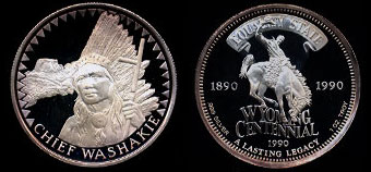 1990 Chief Washakie commemorative Silver Art Round