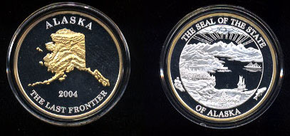 Alaska Mint Alaska 2004 The Last Frontier GP Silver Round