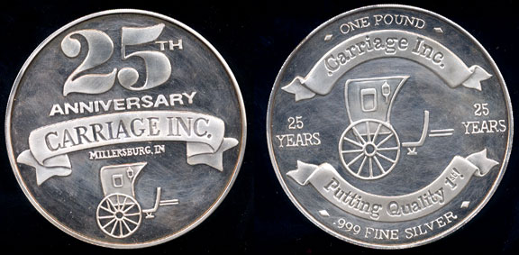 Carriage Inc. 25th Anniversary Commemorative Pure Silver Pound