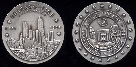 Chicago Fire Centennial Medal 4.8Oz silver round