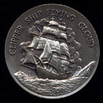 1851 Clipper Ship Flying Cloud Longines Silver Art Round
