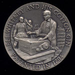1794 Eli Whitney and His Cotton Gin Longines Silver Art Round