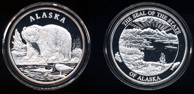 Alaska Mint Alaska State Seal with Grizzly Bear Silver Round