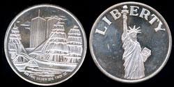 Statue of Liberty Harbor Scene Reverse Silver Round