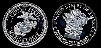 United States Marine Corps Freedom Will Endure Silver Art Round