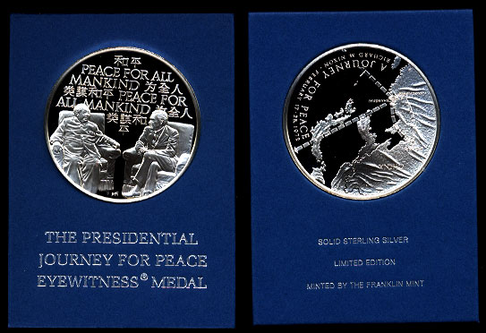 President Nixon's 1972 Visit With China's Mao Tse Tung  The Presidential Journey for Peace Eyewitness Medal