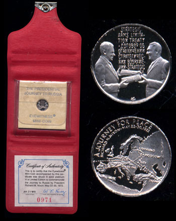 President Nixon's Visit to Russia Eyewitness Platinum Mini-Coin