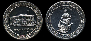 1975 City of Pomona, California Centennial Commemorative Silver Art Round