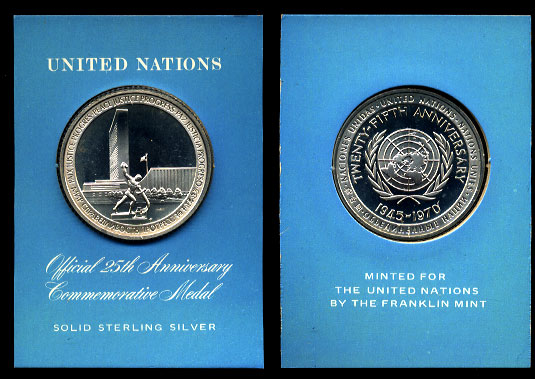 1970 The Official United Nations 25th Anniversary 1 1/2 inch Sterling Silver Medal in Lucite Holder