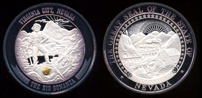 Virginia City Nevada silver round with gold nugget