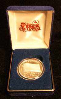 1989 Wyoming state flag commemorative w/ Box Silver Art Round
