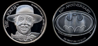 1989 The Joker 50th Anniversary  Silver Round