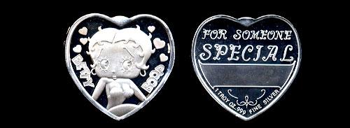 Betty Boop 1 troy oz silver heart