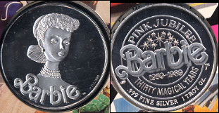 Barbie Nostalgic 30th Anniversary 1959-1989 Alaska Precious metals, Ld.. Mint Division Pink Jubalee 1 Troy oz of .999 Silver Silver Round