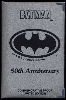 Batman 50th Anniversary DC Comics 1989 Commemorative Proof Limited Edition Silver Art Rounds Gotham City Grey Case