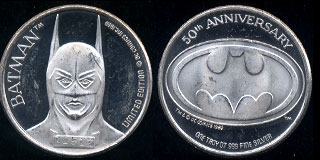 Batman 50th Anniversary Mishandled No Box Silver Round