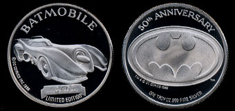 1989 Batmobile #5401 50th Anniversary Silver Round