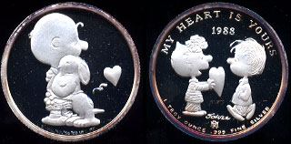 "Charlie Brown ""My Heart is Yours"" Rarities Mint 1983 SN: 000570 1 oz .999 Fine Silver Silver RoundCharlie Brown ""My Heart is Yours"" Rarities Mint 1983 SN: 000570 1 oz .999 Fine Silver Silver Round"