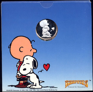"Charlie Brown ""My Heart is Yours"" Rarities Mint 1983 SN: 000570 1 oz .999 Fine Silver Silver Round"