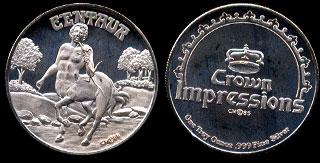 Proof Centaur 1985 Crown Impressions Silver Art Round