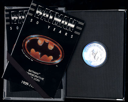 Batman 50th Anniversary DC Comics 1989 Commemorative Proof Limited Edition Silver Art Rounds Hero in Black Grey Case