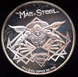 The Man of Steel Superman Cartoon Celebrities Silver Round