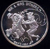 Mr. & Mrs. Dithers Cartoon Celebrities Silver Rounds