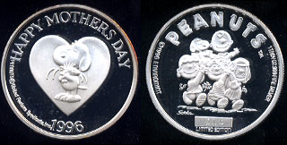Peanuts  Limited Edition Happy Mothers Day 1996 Silver Round