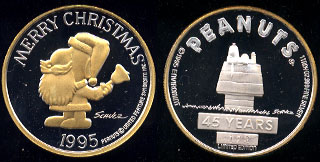 Peanuts 45 Years Limited Edition Merry Christmas 1995 Silver Round