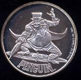 Penguin Cartoon Celebrities Silver Round